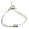 Image of TUUM INCIPIT MATER Sterling Silver White Leather Bracelet - MilanoFashion56.com