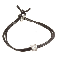 TUUM INCIPIT FILUM PATER Sterling Silver Black Nappa Leather Bracelet - MilanoFashion56.com