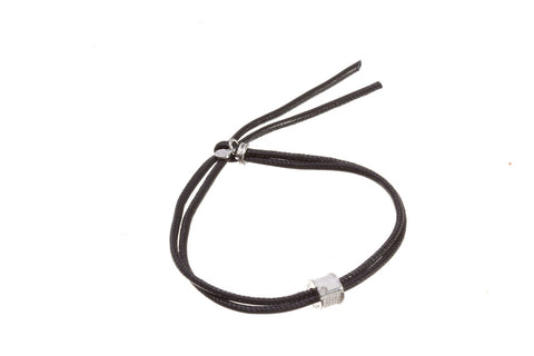 TUUM INCIPIT FILUM PATER Sterling Silver Black Nappa Leather Bracelet