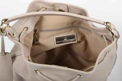 VERSACE 1969 V ITALIA Leather Shoulder Draw String Bag - MilanoFashion56.com