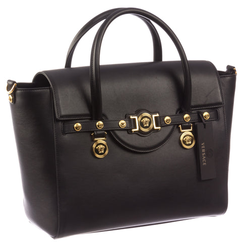 Versace Signature Lock Leather Handbag-D410 - MilanoFashion56.com