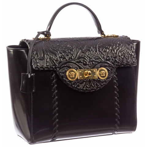Versace Signature Lock Leather Handbag-D410H - MilanoFashion56.com