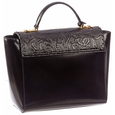 Versace Signature Lock Leather Handbag-D410H