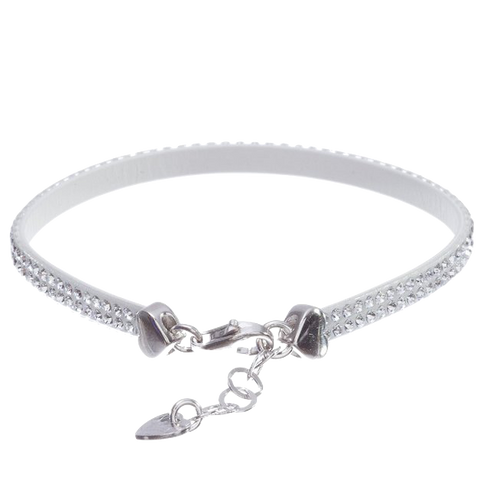 MISS MISS ANTEPRIMA Sterling Silver White Leather Swarovski Crystals Bracelet