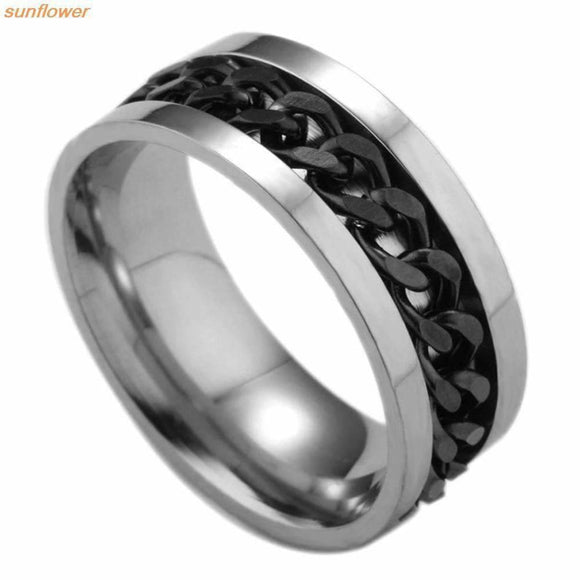 1 Piece Fashion Spinner Black Chain Ring For Men Punk Titanium Steel Metal Finger Anel Beautiful & Warm Life Store