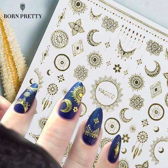 1 Sheet Ultrathin 3D Nail Stickers Star/moon Image Transfer Decal Gold Color 10.3*8Cm Adhesive Nail Art Decorations Beauty & Health > Nails