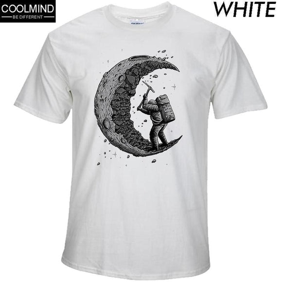 100% Cotton Digging The Moon Print Casual Mens O-Neck T Shirts Fashion Mens Tops Mens T-Shirt Short Sleeve Mens Tshirt Apparel & Accessories