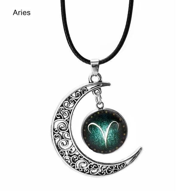 12 Constellation Stainless Steel Pendant Necklace Rope Leather Moon Necklace For Women Mens Lover Couple Jewelry Collier Gift New Women