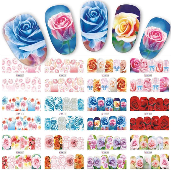 12 Designs/sets Water Transfer Beautiful Rose Decals Full Decals Nail Sticker Mixed Colorful Flower Nail Art Diy Decor Bn553-564 Beauty &