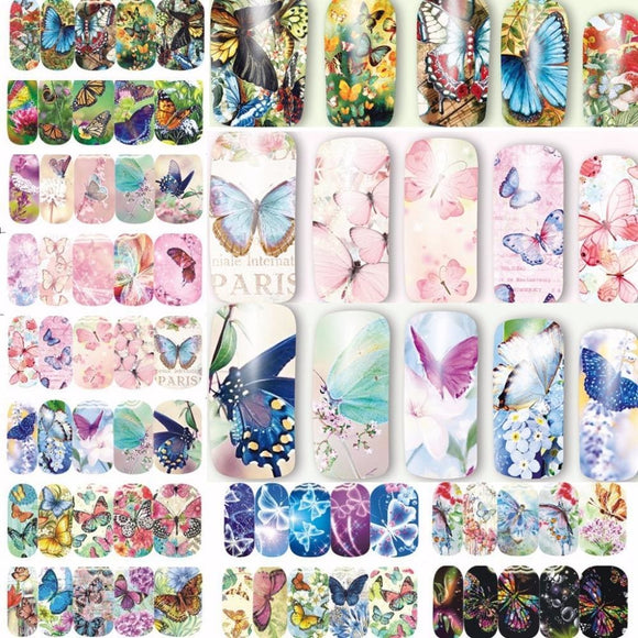 12 Sheets Water Decal Nail Art Nail Sticker Slider Tattoo Full Cover Colorful Butterflies Decals Manicure Supplies A1297-1308 Beauty &