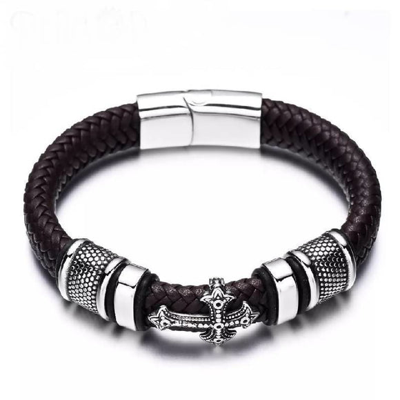 12Mm Width Braided Leather 316L Stainless Steel Cross Charms Cuff Bracelets Apparel & Accessories > Jewelry > Bracelets