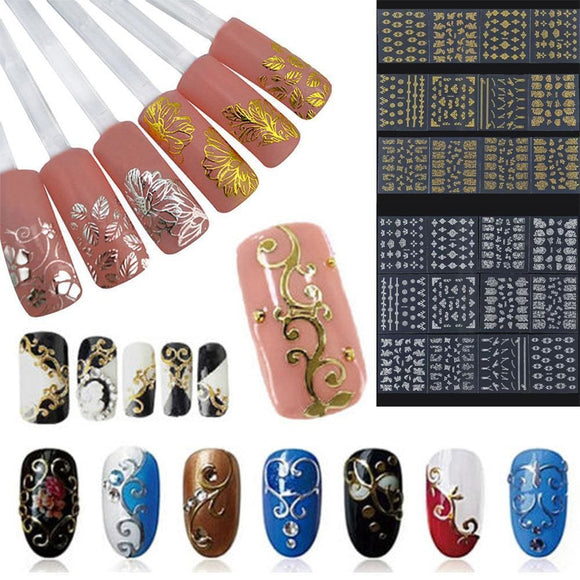 12Pc/set Pro 3D Diy Metallic Beauty Gold Silver 3D Nail Art Stickers Decals Flower Manicure Decoration Tools Beauty & Health > Nails > Nail