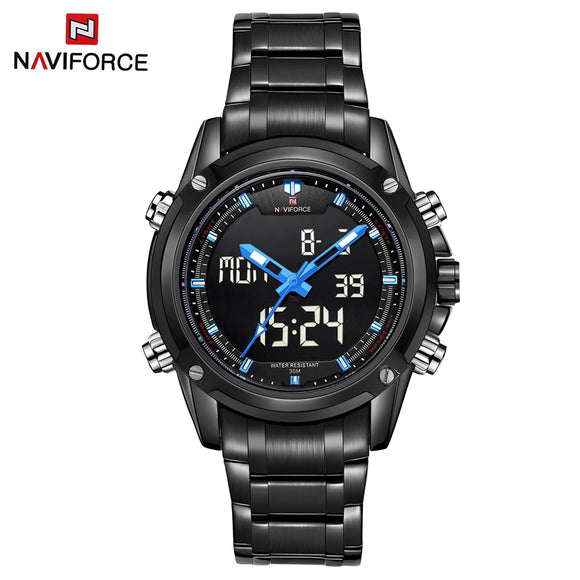 NAVIFORCE NF9050 Luxury Dual Movt Men Quarz Watches Analog Digital LED Sport Military Wrist Watch Chronograph-Watches-Zodeys-BLACK BLUE-Zodeys