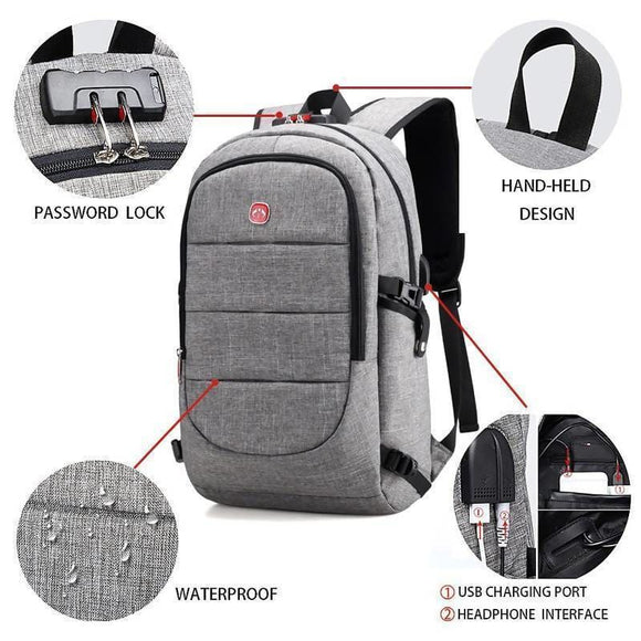 15.6 Inch Laptop Anti-Theft Usb Charging Headphone Interface Port Lock Waterproof Backpack Luggage & Bags > Backpacks