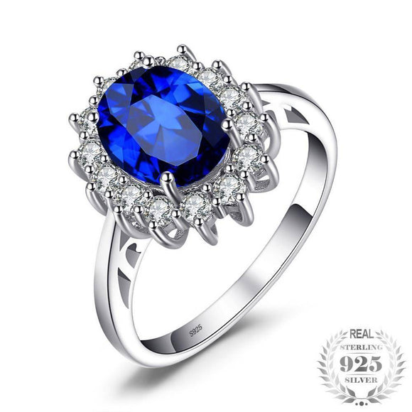 Princess Diana William Kate Middleton's 3.2Ct Created Blue Sapphire Engagement 925 Sterling Silver Ring For Women