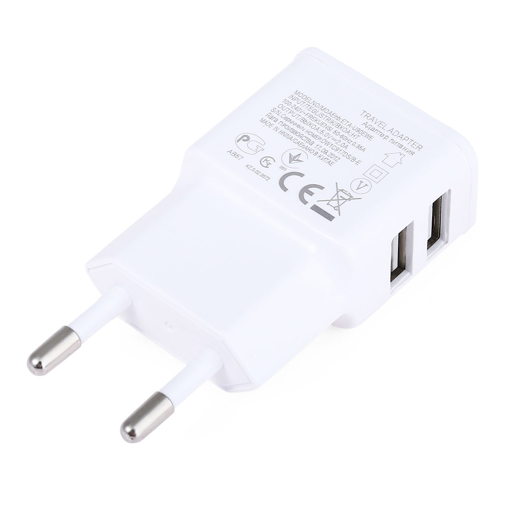 eu plug universal 2 usb ports home wall power supply adapter charger