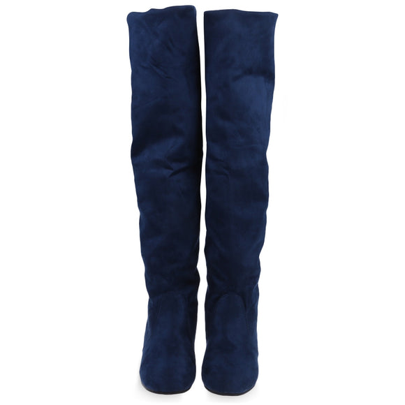 Vintage Pure Color Round Toe Ladies Knee Boots-Boots-Zodeys-DEEP BLUE-35-Zodeys