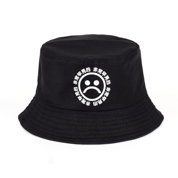 2017 new hot hunting fishing bucket hat cap sun protection cotton summer sad boy cry face emoji fisherman hat men hip hop black-Hats-Zodeys-Black-Zodeys