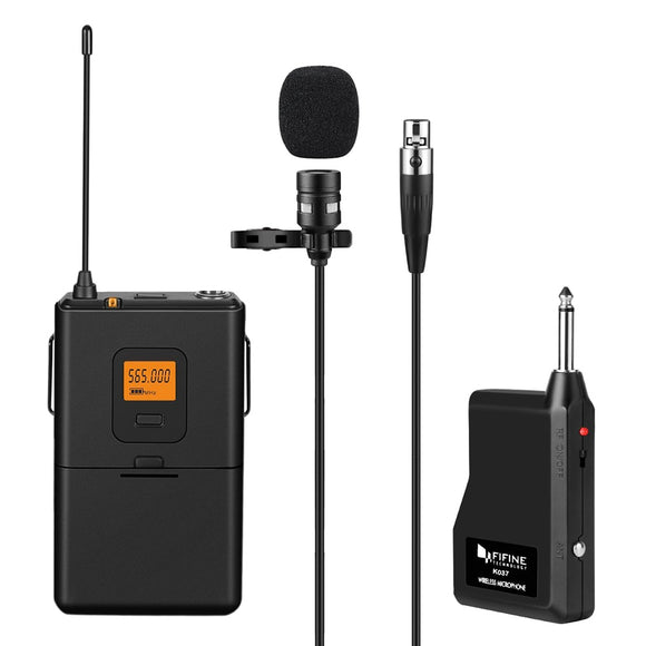FIFINE K037 U-segment Wireless Microphone Lapel Clip Mic Voice Amplifier-Zodeys-BLACK-Zodeys