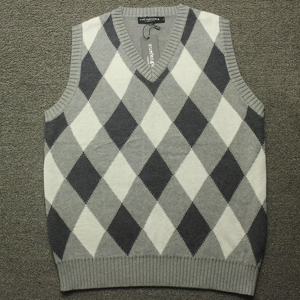 89c76fc6cbd084 2018 Fashion Design V Neck Male Waistcoat Knitted Vest Men Sleeveless Sweater  Argyle Pattern-Sweaters