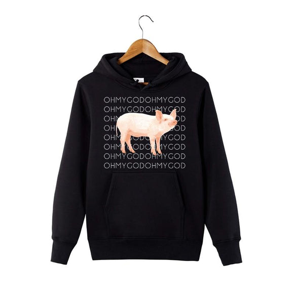 2018 New Fashion Shane Dawson Oh My God Pig Hoodie Funny Graphic Sweatshirt Youth Hooded Pullover-Sweaters-Zodeys-Black-4XL-Zodeys