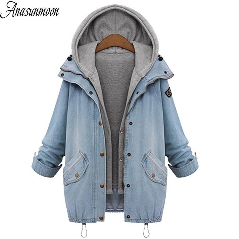 a536abf6c0a 2018 Women Denim Jacket Coat Veste Femme Two-piece Jacket Autumn Winter  Hooded Bomber Plus