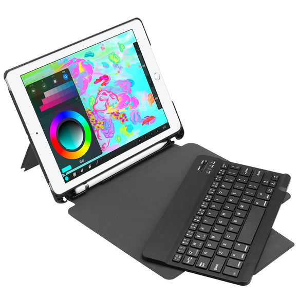 FT - 2068 Detachable Wireless Bluetooth Keyboard Tablet Case Suitable for 2018 / 2017 iPad 9.7 inch with Universal Pen Holder-Zodeys-BLACK-Zodeys