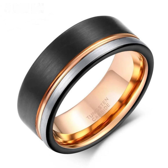 8Mm Black Rose Gold Line Brushed Tungsten Carbide Rings