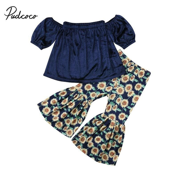 2Pcs Toddler Kids Girl Clothing Set Off Shoulder Tank Tops +Sunflower Bell Bottom Trouser Outfits Children Summer Clothes Mommy ^_^ Baby