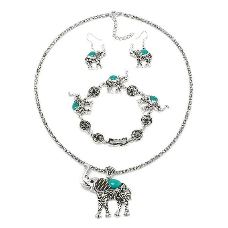 3 Pieces Elephant Shape Carved Jewelry Bohemian Set Jewelry & Accessories > Necklaces