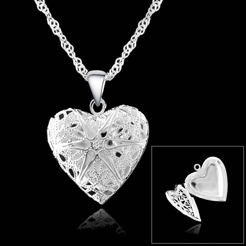 Silver Necklace S90 Silver Necklace Chains Heart Shape Open Case Frame Silver Pendant