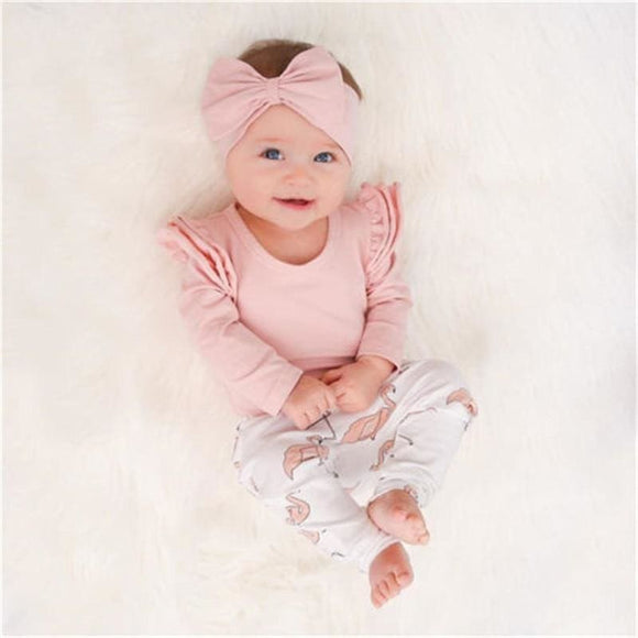 3Pcs Set Cute Baby Girl Clothes Spring Toddler Kids Tops+Flamingo Print Pants Leggings Headband Children Girls Clothing Set Cotton Polyester