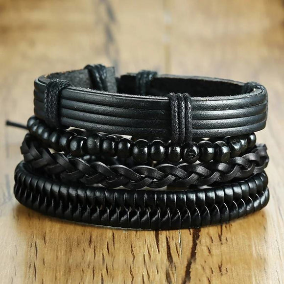 4Pcs Set Black Adjustable Length Bohemia Style Bracelet Apparel & Accessories > Jewelry > Bracelets