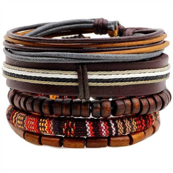 5 Pcs/set Wood Beads Charm Handmade Woven Men Leather Bracelet Desire Shop