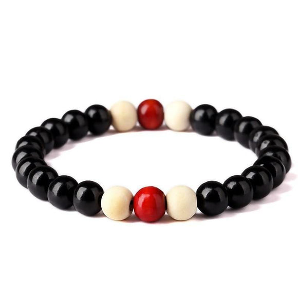 8Mm Black Color White Stone Natural Wooden & Stone Beaded Root Chakra Bracelet Bracelet For Men Desire Shop