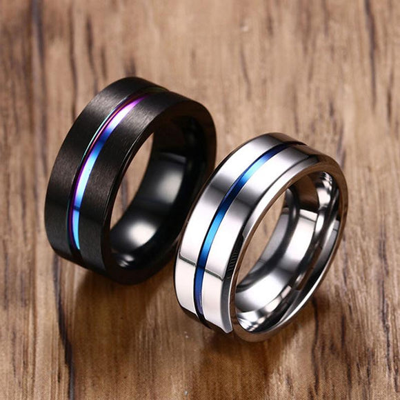 8MM Black Titanium Ring For Men Women Wedding Bands Trendy Rainbow Groove Rings Jewelry USA Size-Rings-Zodeys-Black-10-Zodeys