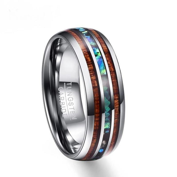 8Mm Hawaiian Koa Wood And Abalone Shell Tungsten Carbide Ring Jewelry & Accessories > Rings