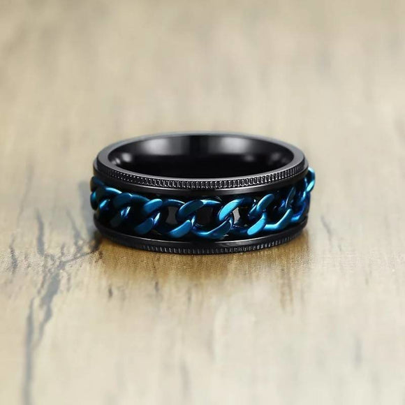 8Mm Rotatable Blue Chain Stainless Steel Men Ring Mens > Jewelry & Fashion Accessories > Rings