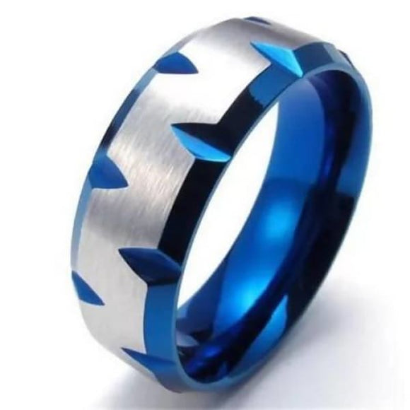 8Mm Stainless Steel Blue Plated Faceted Edges Mens Ring Mens > Jewelry & Accessories > Rings
