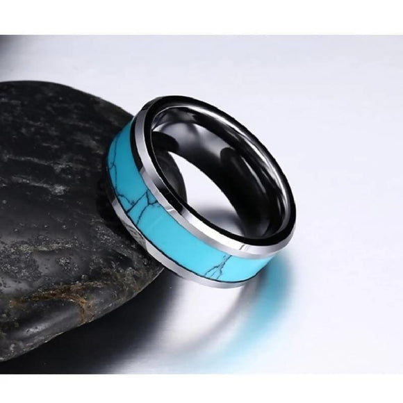 8Mm Tungsten Carbide Turquoise Ring Jewelry & Accessories > Rings
