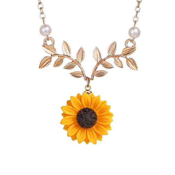 High Quality Fashion Sunflower Leaf Pendant Necklace With Lovely Flower Collarbone Chains Cute Jewelry Necklace Women