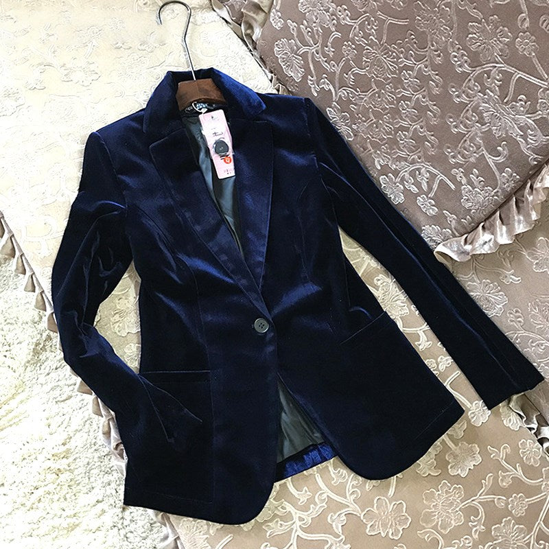 fceeb81cb65 2018 Women Slim Velvet Blazer Lady Black Blue Elegant Blazers Suits Spring  Fall Plus Size Long