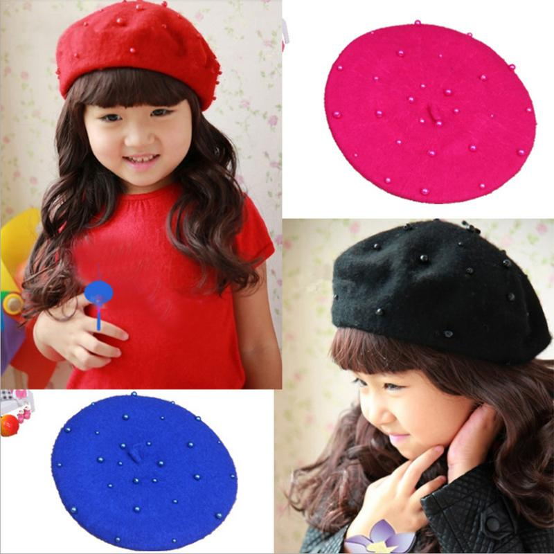 ... Fashion Wool Baby Hats With Pearls Candy Color Retro Baby Girl Beret  Cap For 3- ... 80e43341f30