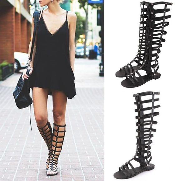 Women Shoes Gladiator Sandals Strappy Flat Knee High Long Zip Up Boots Rivet Hollowed-out Sandals Shoes for Fashion Ladies #1115