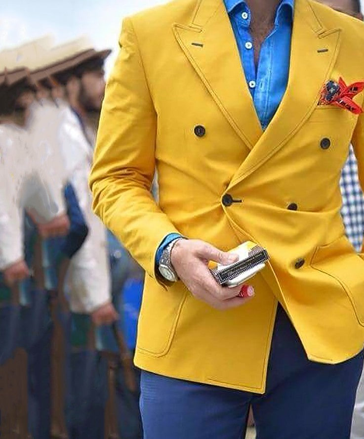 Latest Coat Pant Designs Yellow Men Suits Double Breasted Custom Casua