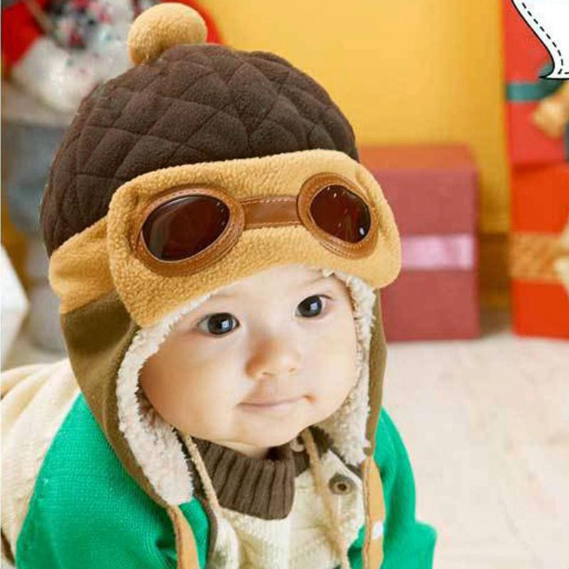 Cute Winter Warm Baby Hats Infant Toddlers Boys Girls Pilot Aviator Warm  Caps Soft Eargflap Hat 0a3792aae3ca