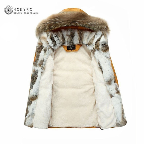 Raccoon Fur Warm White Duck Feather Coat Long Winter Jacket Women Down Parka Plus Size 2018 Rabbit Hair Hooded Outerwear Okd449