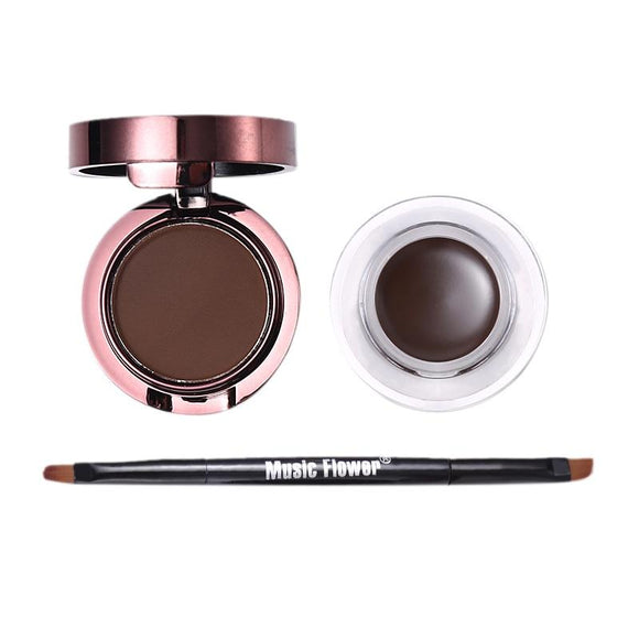 Music Flower Brand 2 In 1 Gel Eyeliner and Eyebrow Powder Makeup Palette Waterproof Brown Natural Eye Liner Cosmetics Set