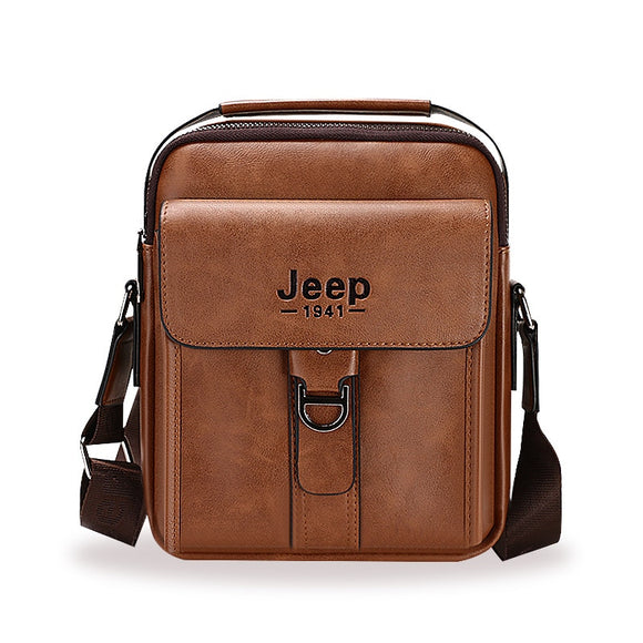 Large Capacity Man's Shoulder Bags JEEP Brand Man Split Leather Crossbody Messenger Bag High Quality Business Tote Bags For iPad