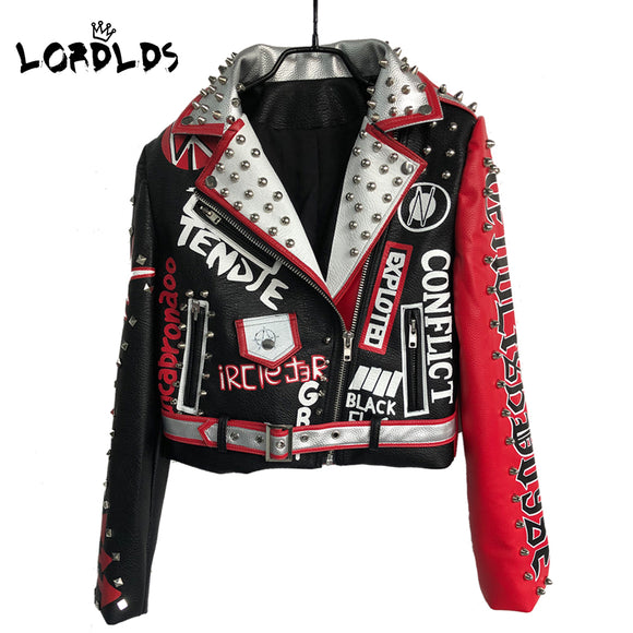 LORDLDS Leather Jacket Women 2019 New Spring Neveda Fashion Turn-down collar Punk Rock Jackets with belt Ladies Outwear coats